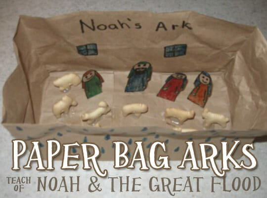 """Bible Craft: Paper Bag Arks to teach """"Noah & The Great Flood"""""""