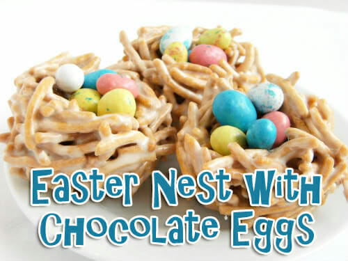 easter nest with chocolate eggs easter snack