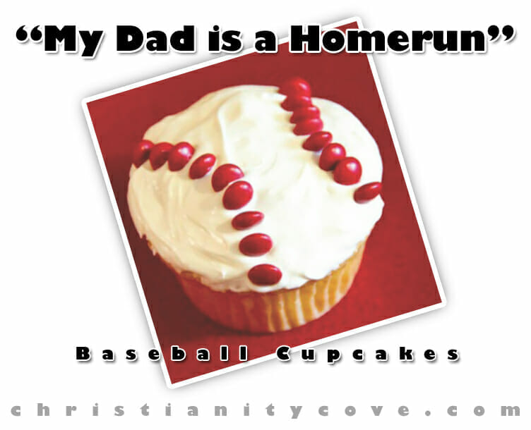 dad is a homerun baseball cupcakes