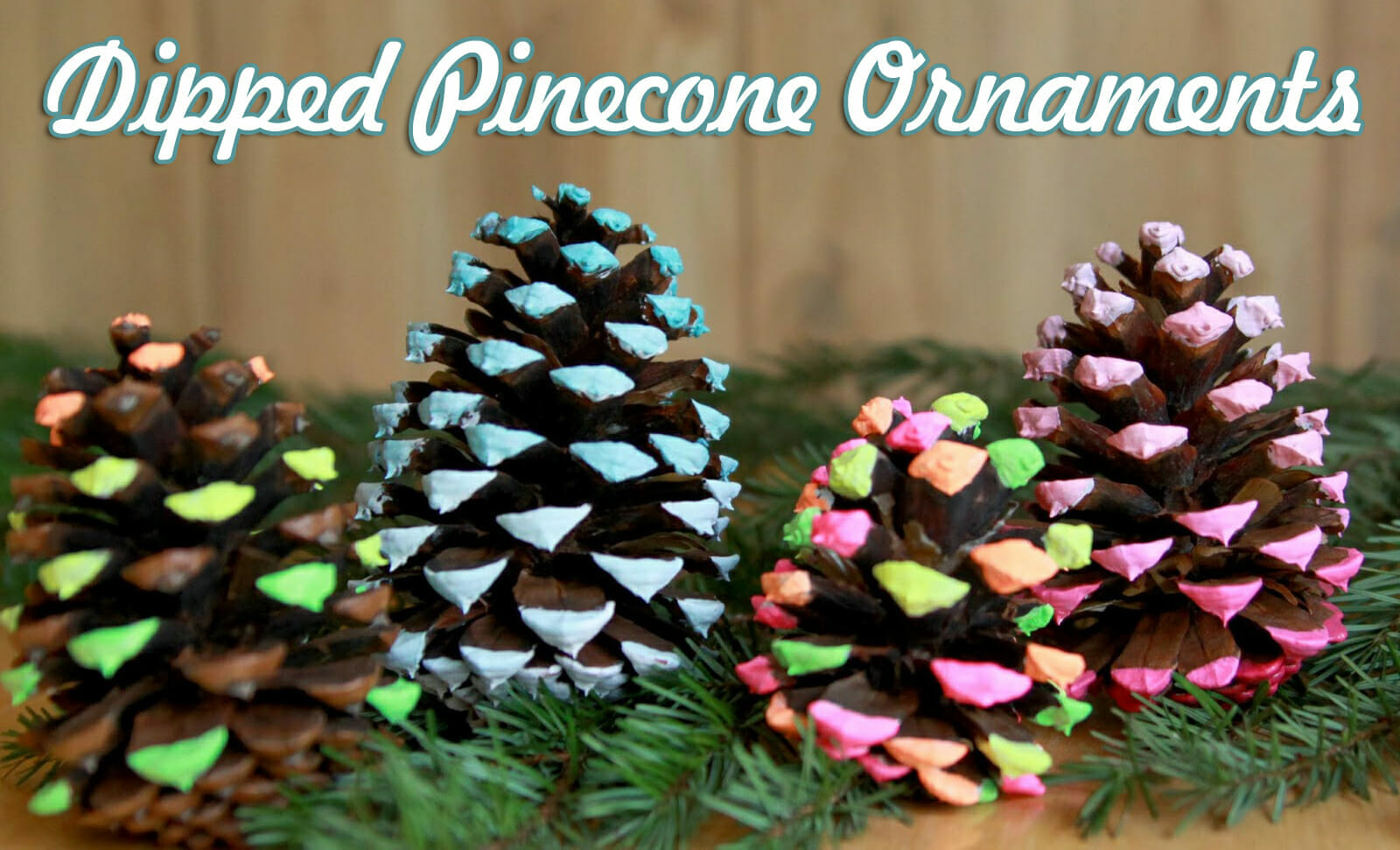 Dipped pine cone ornaments christmas craft for Pine cone christmas tree craft