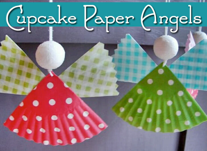 Luke 2:8 Cupcake Paper Angels Christmas Craft