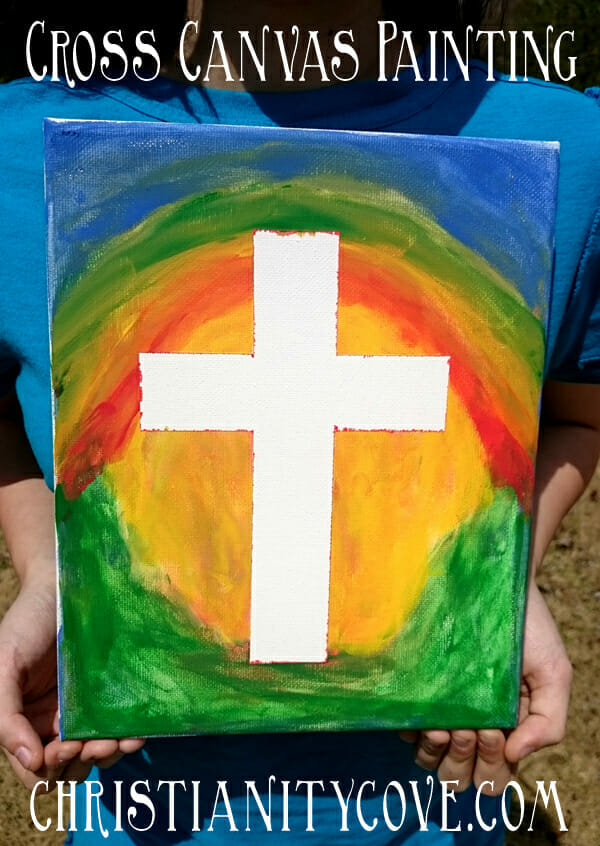 cross canvas painting sunday school craft