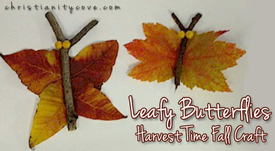 Harvest time fall craft leafy butterflies for Harvest crafts for kids