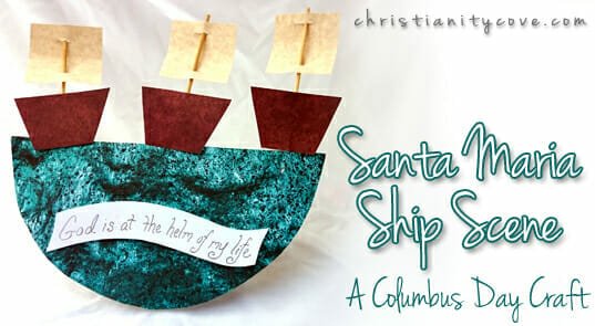 Columbus Day Craft – Santa Maria Ship Scene