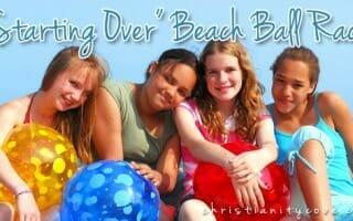 starting over beach ball race bible game