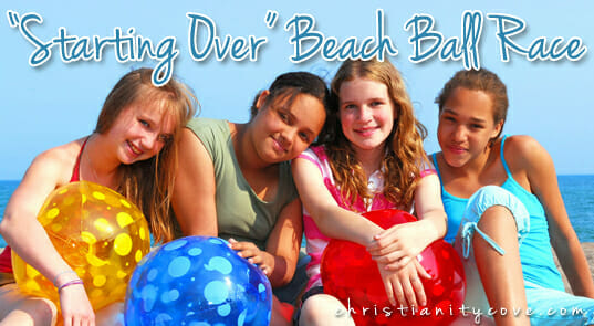 starting over beach ball race bible game