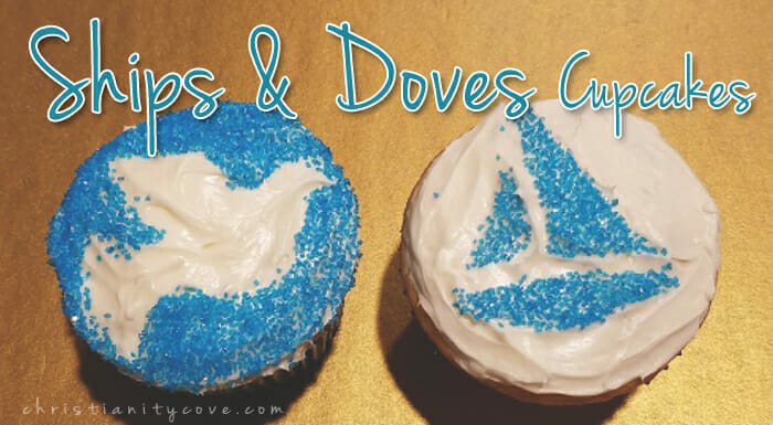 Dove & Ships Stenciled Cupcakes (Bible Snack & Activity)