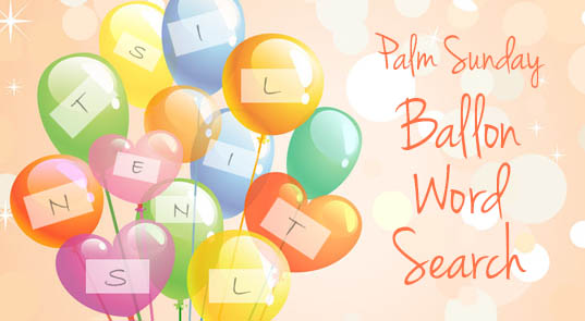 Palm Sunday Balloon Word Search